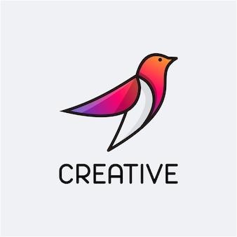 Modello di logo astratto sfumato di colore dell'uccello