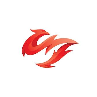 Icona astratta del logo della fenice della fiamma dell'uccello e del fuoco