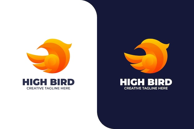 Logo sfumato testa di uccello astratto