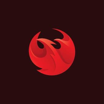 Testa di uccello astratta phoenix wing e fire flame logo icon vector