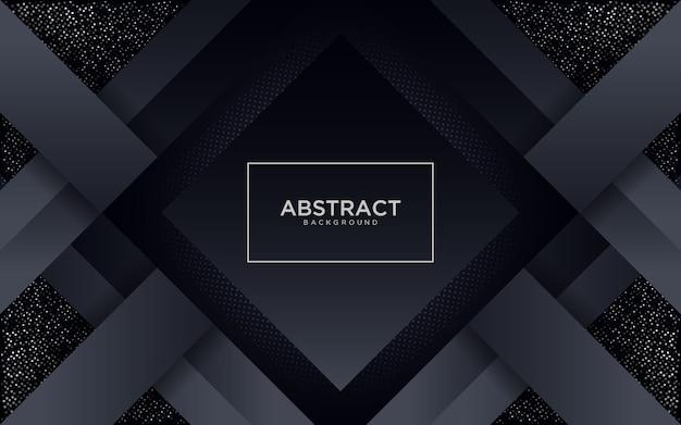 Astratto sfondo nero con forma geometrica e glitter