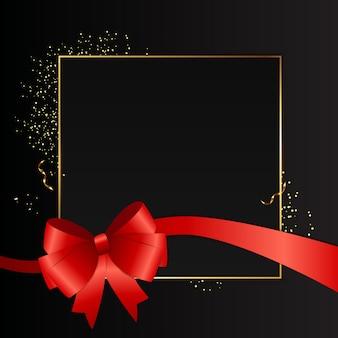 Astratto sfondo nero con cornice dorata e nastro rosso. illustrazione