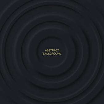 Strati di cerchi neri astratti su sfondo scuro