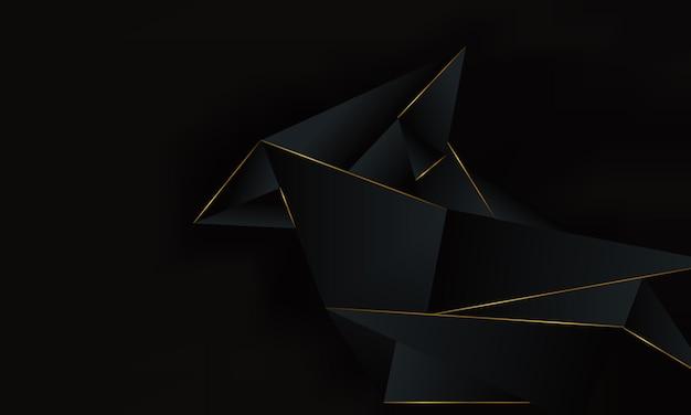 Fondo poligonale geometrico nero astratto con la linea dorata