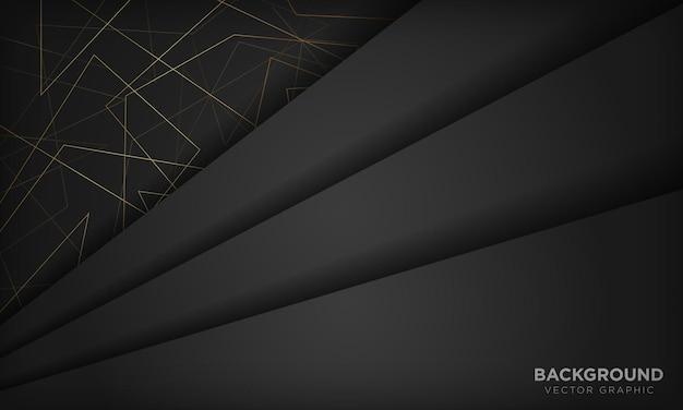 Sfondo astratto nero e oro con linea poligonale