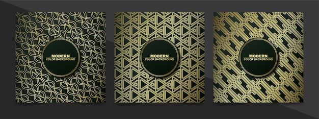 Design pattern di copertine minime di colore nero e oro astratto