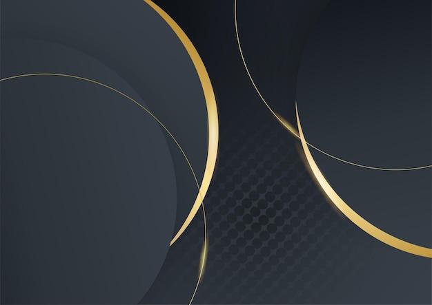 Fondo astratto di lusso nero e oro. moderno modello di banner scuro vettoriale con motivi di forma geometrica. design grafico digitale futuristico
