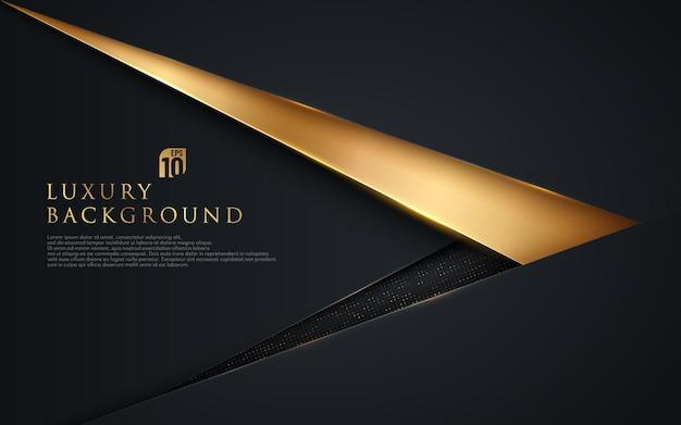 Il triangolo nero e oro astratto si sovrappongono su sfondo scuro