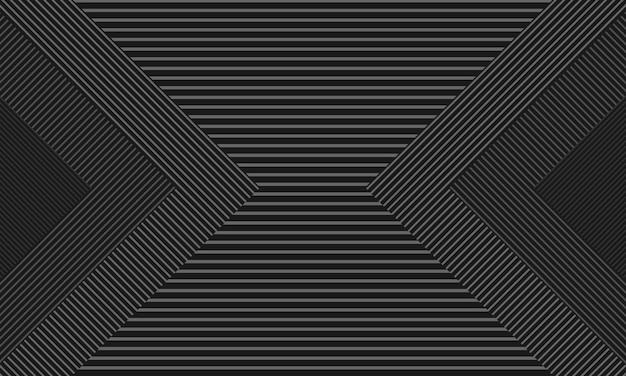 Quadrato nero e grigio astratto con motivo a righe. design per brochure.