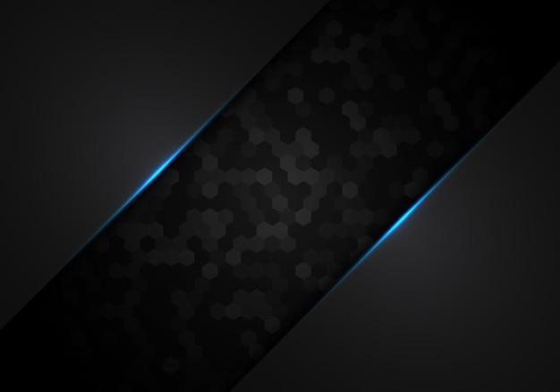 Modello esagonale nero astratto metallico con concetto di tecnologia di progettazione del layout del telaio della luce blu. illustrazione vettoriale