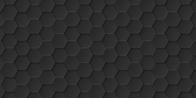 Astratto sfondo esagonale nero, forma esagonale, illustrazione vettoriale