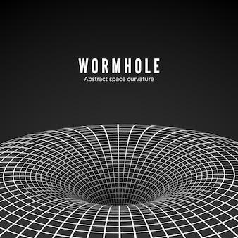 Buco nero astratto o wormhole Vettore Premium