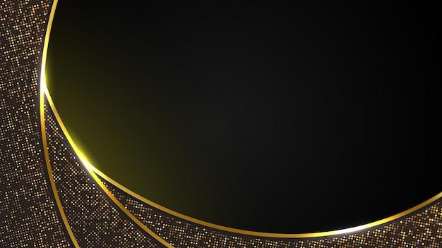 Fondo di lusso nero astratto della linea moderna della curva dell'oro scuro e della scintilla dorata