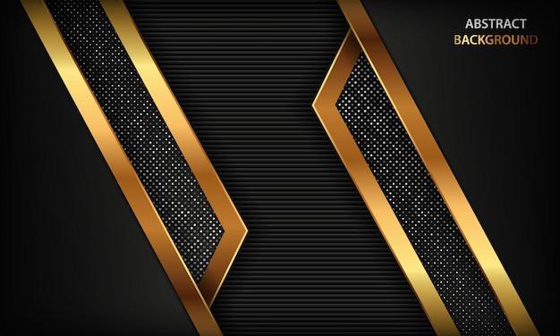 Sfondo di lusso nero astratto con linee dorate e decorazioni scintillanti d'argento