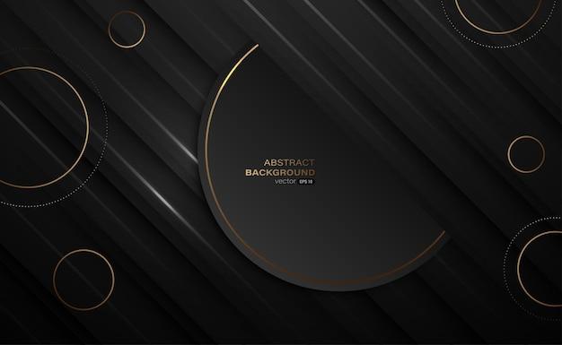 Strati di sovrapposizione neri astratti e sfondo di cerchi dorati di lusso