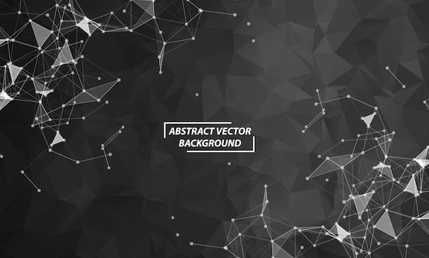 Fondo nero astratto dello spazio poligonale con punti e linee di collegamento. struttura della connessione e background scientifico. design futuristico hud.