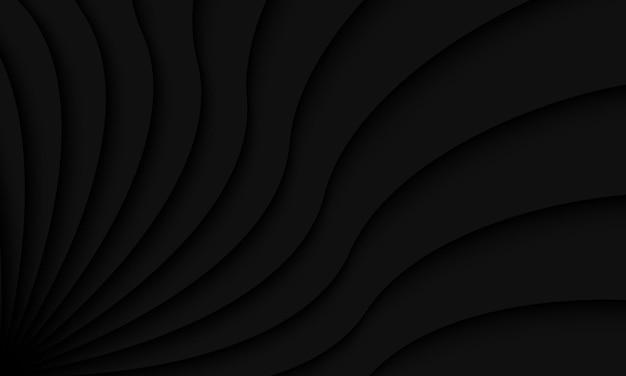 Illustrazione nera astratta del fondo a spirale della curva dell'ombra