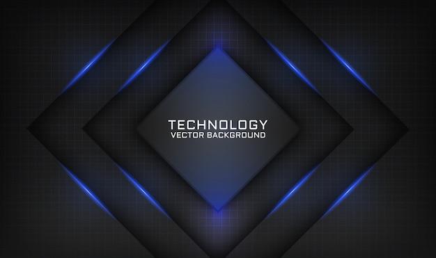 Fondo nero astratto di tecnologia con effetto della luce blu