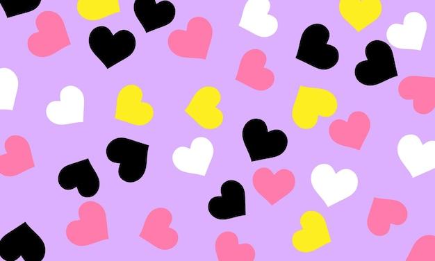 Modello astratto nero bianco rosa e giallo cuore in design senza soluzione di continuità su sfondo rosa chiaro