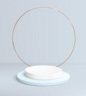 Fondo blu astratto con il podio vuoto per l'esposizione del prodotto e l'anello d'oro.