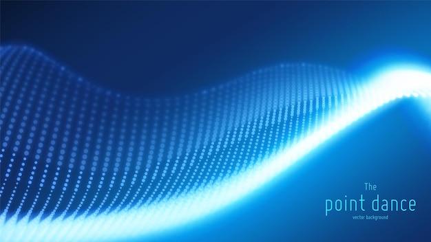 Astratto sfondo blu con onda di particelle