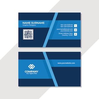 Modello di disegno astratto biglietto da visita blu con poligonale