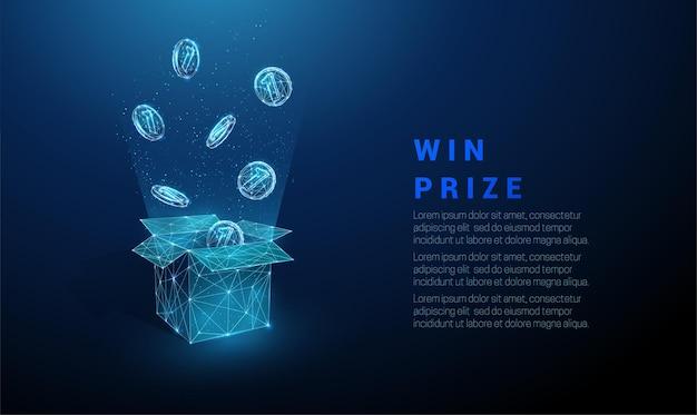Monete blu astratte che volano dalla scatola aperta premio in denaro fondo geometrico di design in stile basso poli