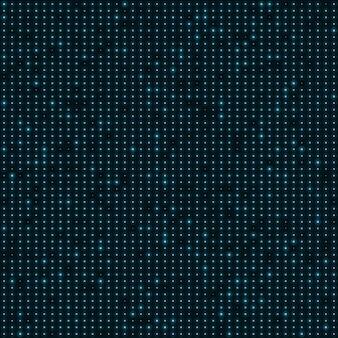 Punti al neon di colore blu astratto, fondo di tecnologia punteggiato.