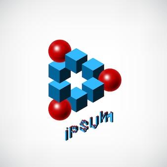 Cubi blu astratti e modello logo palla rossa