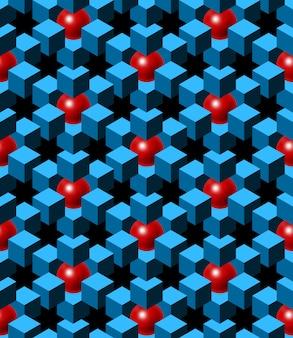 Cubi blu astratti e palline rosse con sfondo nero