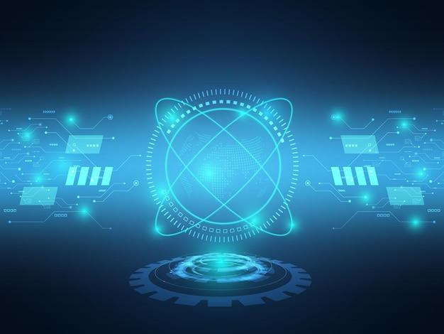 Trasferimento di dati futuristico blu astratto del fondo di tecnologia con il circuito