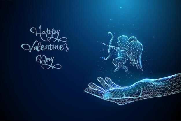 Blu astratto che dà la mano con il cupido di angelo