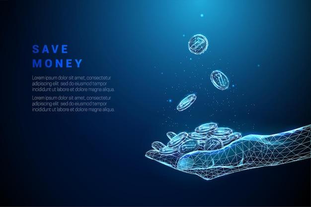 Astratto blu che dà la mano con una pila di monete e monete che cadono in esso design in stile low poly