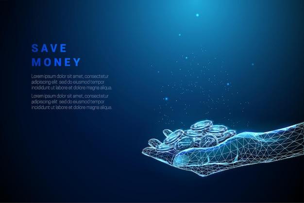 Blu astratto che dà mano con il mucchio delle monete. design in stile low poly. sfondo geometrico grafico 3d moderno. struttura di connessione della luce wireframe. illustrazione vettoriale isolato.