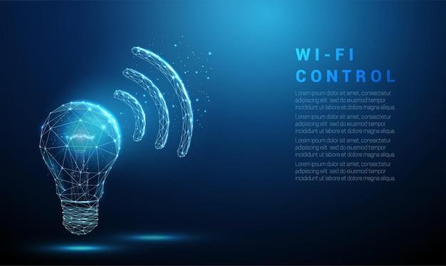 Lampadina incandescente blu astratta e simbolo wi-fi
