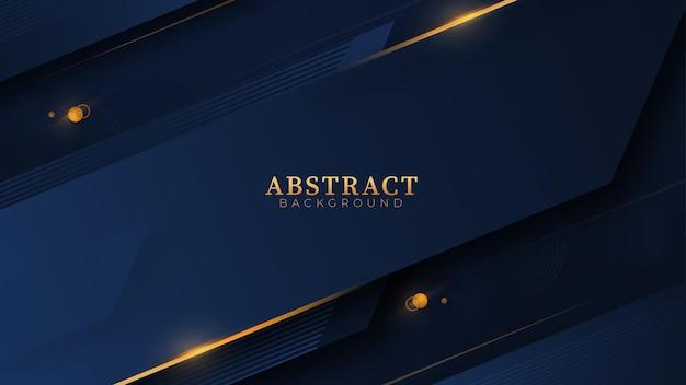 Sfondo di forme geometriche astratte blu e oro con forma di sovrapposizione di linee