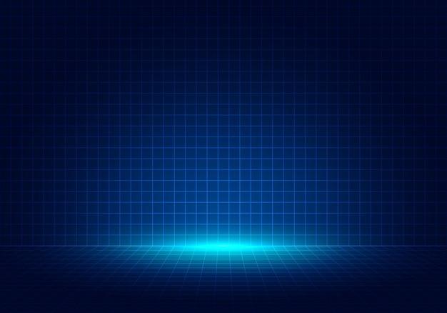 Priorità bassa blu astratta di disegno di prospettiva di griglia