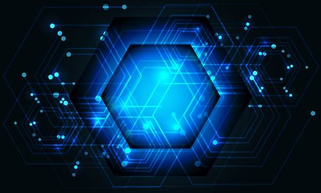 La linea blu astratta dei dati di potenza del circuito di esagono collega la tecnologia futuristica sul fondo scuro di progettazione.