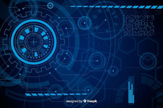 Priorità bassa blu astratta di tecnologia del hud Vettore Premium