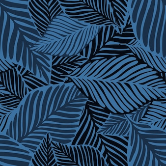Stampa giungla blu astratta. pianta esotica. modello tropicale, foglie di palma sfondo floreale vettoriale senza soluzione di continuità.