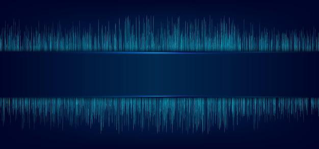 Etichetta blu astratta e illuminazione laser con linee dinamiche
