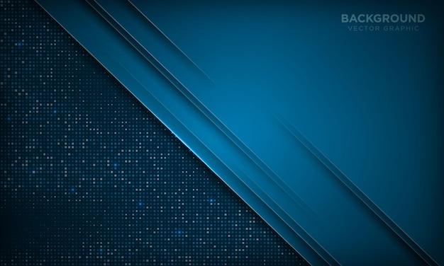 Priorità bassa di strati di sovrapposizione di lusso blu astratta stile di carta moderno con effetto scintillante