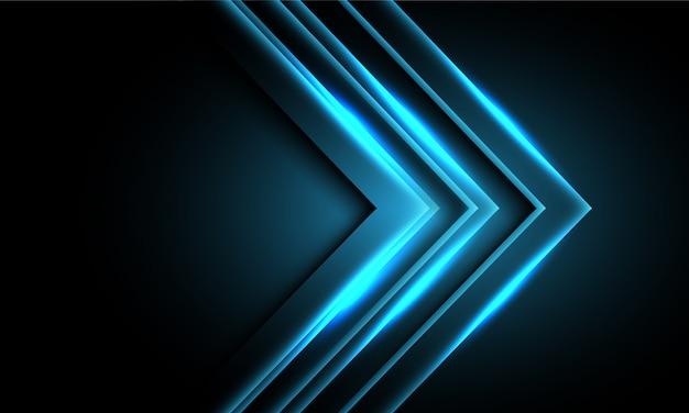 Direzione della freccia blu astratta della luce al neon sul fondo futuristico moderno di tecnologia di progettazione nera.