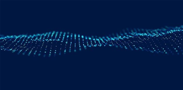 Sfondo astratto particella blu onda di flusso con paesaggio di punti