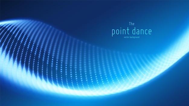Onda astratta di particelle blu, sfondo di array di punti