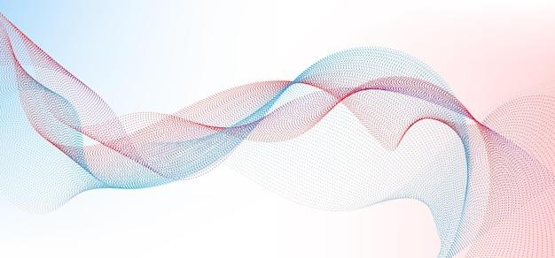 Linee di particelle di punti ondulati blu e rossi astratti linee fluide di punti di forma sinuosa liscia