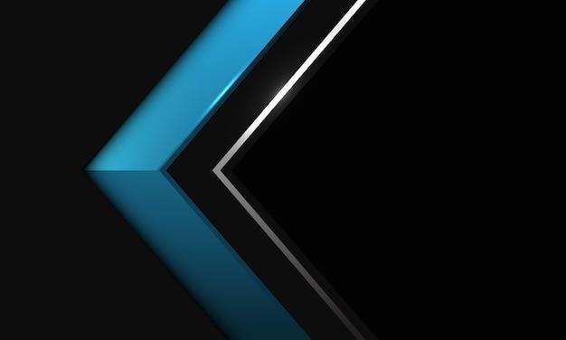 Linea d'argento blu astratta direzione dell'ombra della freccia sul nero metallizzato