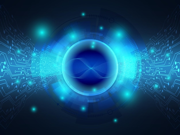 Trasferimento di dati del fondo blu astratto di tecnologia con l'illustrazione del circuito