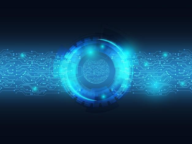 Trasferimento di dati del fondo blu astratto di tecnologia con il circuito