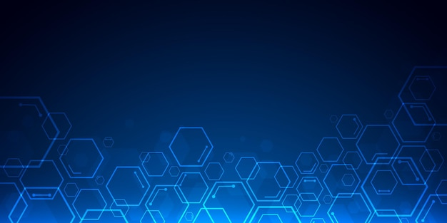 Fondo blu astratto di esagono di tecnologia con lo spazio della copia